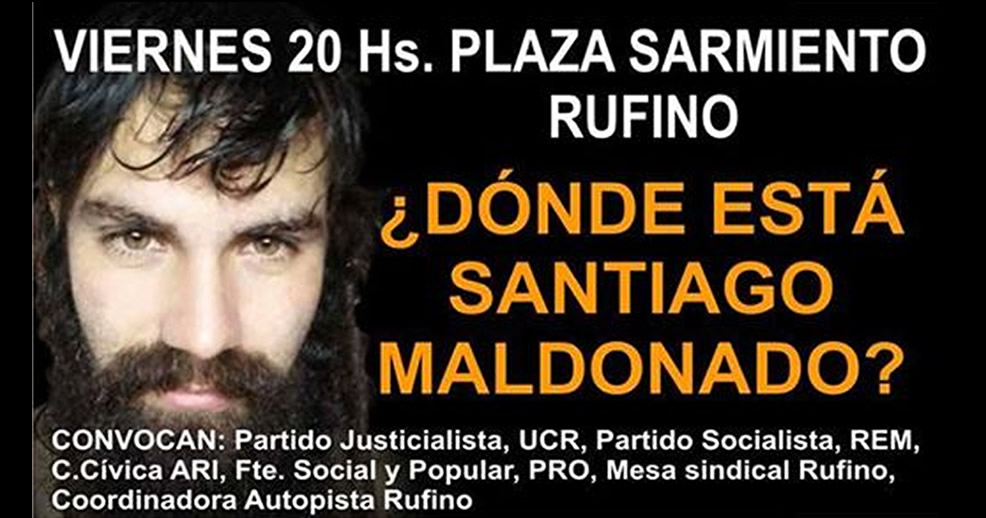 Hoy marcha por Santiago Maldonado en Rufino