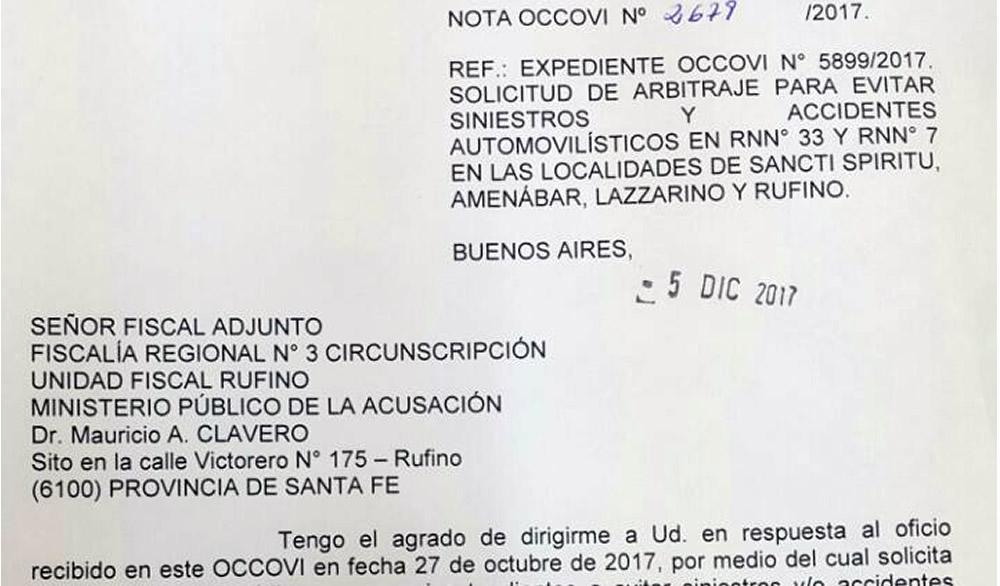 Occovi respondió al Fiscal Adjunto Clavero por accidentes en Ruta 33