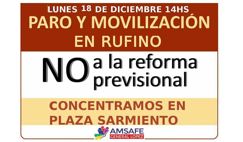 Lunes Paro y Movilización en Rufino