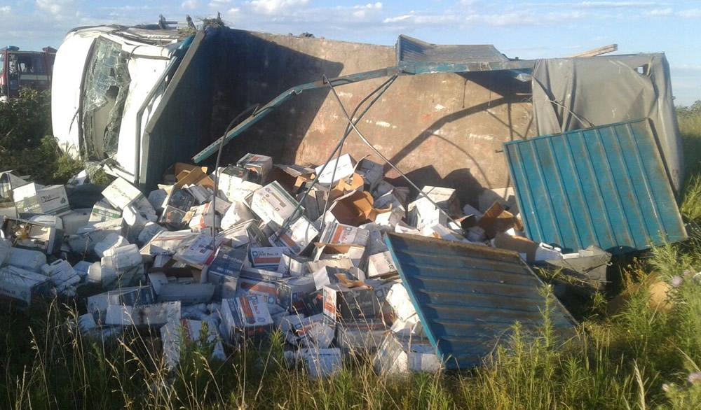 Vuelco de camión en Ruta 33 en cercanías de Rufino