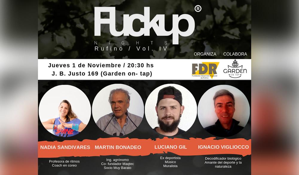 El jueves 1 de Noviembre se realizará la cuarta edición de FuckUp Night Rufino