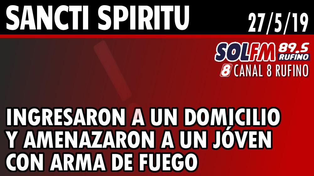 Sancti Spiritu: ingresaron a un domicilio y amenazaron a joven con arma de fuego