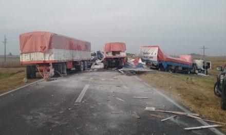 Cuatro camiones involucrados en accidente sobre ruta 33 en Rufino