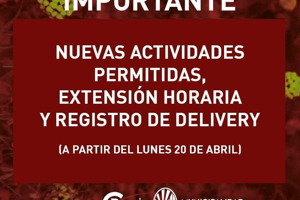 Nuevas actividades permitidas, extensión horaria y registro de Delivery a partir del lunes en Rufino