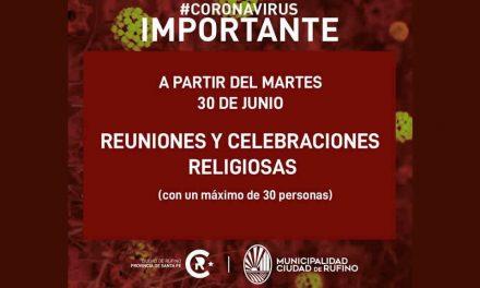 Se habilitan las reuniones y celebraciones religiosas en iglesias, templos y lugares de culto con la concurrencia simultánea de hasta treinta personas