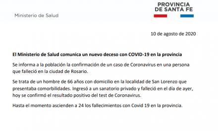 Santa Fe confirma la muerte de un paciente con Covid 19