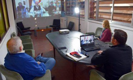 Lattanzi con el gobernador Perotti en videoconferencia
