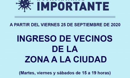 Nuevo horario para el ingreso de vecinos de la zona a Rufino