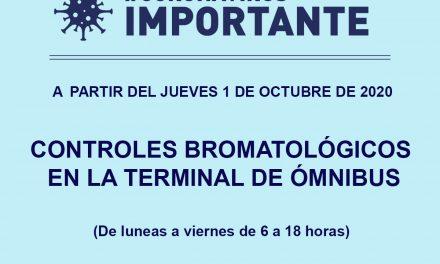 A partir de octubre vuelven los controles bromatológicos a la terminal