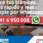 Ahora se puede reclamar o gestionar por Whatsapp a Aguas Santafesinas