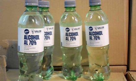 El municipio recibió donación de alcohol sanitizante