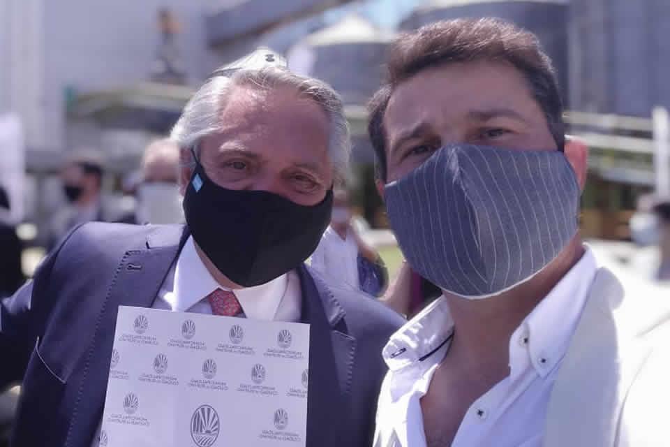 Natalio Lattanzi con el presidente Alberto Fernandez