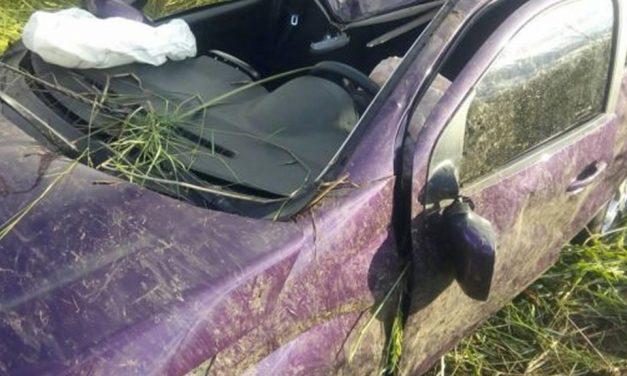 Vuelco de un automóvil en Ruta 7 cerca de Rufino