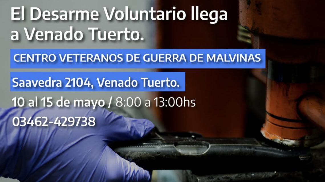 La provincia avanza en el Plan de Desarme Voluntario en Venado Tuerto