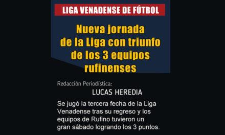 Nueva jornada de la Liga Venadense con triunfo de los 3 equipos rufinenses