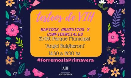 Testeos de VIH confidenciales, rápidos y gratuitos hoy de 14.30 a 18.30 en parque municipal de Rufino