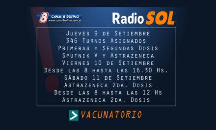 Vacunatorio para este jueves, viernes y sábado en Rufino